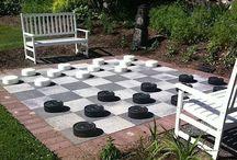 fun chess board backyard
