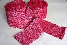 Fibre Arts / Various fibre related works by members of Skraeling Althing (weaving, naalbinding etc.)