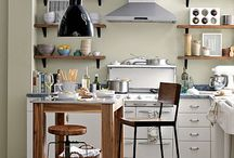 Kitchen Ideas / My husband and I are redoing our kitchen ourselves because we are poor and also insane.  We are going with open shelving up top and some sort of simple backsplash, white cabinets from IKEA, with black pulls, a farm sink, and black faucet.  The walls are already a green color (asparagus I think) and we had cork floors installed.