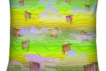 Cows in the green field