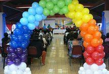 Rainbow Balloon ideas / Balloon Decor, centerpieces, arches