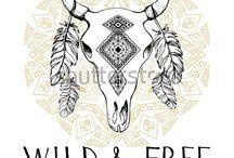 Animal skull, hand drawing, boho style