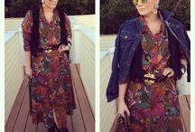 Fringe Benefits / Thrifted dress Fall fashion Fall colors Fringe vest Cowboy boots