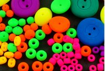 UV Active Neon Hot Czech Glass Beads, Cabochons, Buttons