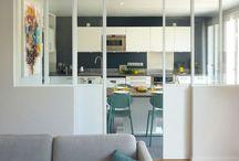 Kitchen & glass wall