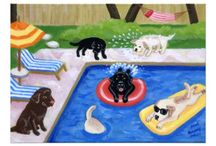 Labrador Pool Party Invitations / Cute and cheery Pool Party Invitations with Labrador Retriever artwork.  Colorful and humorous.  Labrador paintings by Naomi Ochiai.