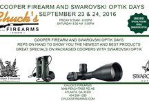 Chucks Cooper Days / Cooper Firearm and Swarovski Optik Days September 23 & 24, 2016 at Chucks Firearms Reps on hand to show you the newest and best products Great specials on packaged Coopers with Swarovski Optik