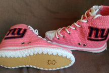 New York Giants Converse Crochet Slippers, NY Giants Pink Converse Knitted Shoes, Custom Converse Knitted Slippers, Super Bowl Throwback