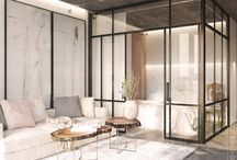 Glass partition bedroom