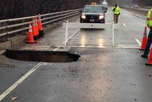 George Washington Memorial Parkway / Massive sink hole on the George Washington Memorial Parkway in Arlington Virginia