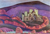 Nicholas Roerich / (1874 – 1947) Russian painter, writer, archaeologist, theosophist, perceived by some in Russia as an enlightener, philosopher, and public figure, who in his youth was influenced by a movement in Russian society around the occult. He was interested in hypnosis and other spiritual practices and his paintings are said to have hypnotic expression.