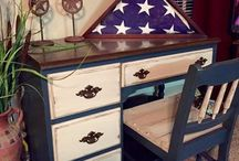 Patriot -Rethunk Junk by Laura Paint / All things painted Patriot with Rethunk Junk Paint by Laura.  Don't forget Rethunk Junk Prep Spray!  Spray on, wipe down, apply two coats of paint!  Add Dark Glaze or Tintable Glaze for added character.  #nowaxever #breakthechalkhabit