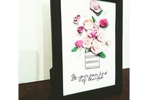 Be your own kind of beutiful / watercolor, painting, drawing, kids decor, inspire, embrace your self, flowers, clay, clay flowers, illustration, decor, interiordesign