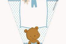 Kit Imprimible osito bebé celeste