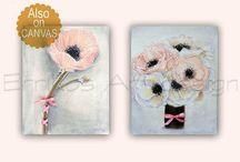 Floral Nursery Art, Flowers, Girl Nursery Decor / Check out my shop: http://www.etsy.com/shop/handpainting?ref=si_shop