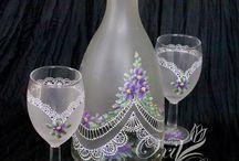 set bottiglia calici per anna