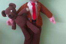 crochet mr bean with teedy bear