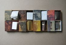 Box art, books, cloches, mixed media and assemblage