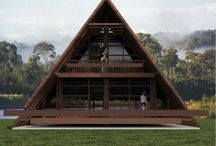 Triangle wooden houses