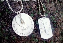 Men and Women Necklace Sets / Hand stamped memorial necklace sets