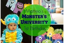 Monsters University Party / A Monsters University Party I planned + styled for my son's 1st birthday inspired by the movie featured on Disney Baby, Hostess with the Mostess and Baby Center! http://www.disneybaby.com/blog/real-party-inspiration-matteos-monsters-university-1st-birthday/ Planning + Styling + Party Printables: Miriam Corona Events Venue: Caterpillar Kids Place Photography: Rebekah Meredith Cake Stands and High Chair: Minted and Vintage Candy: Sweets Indeed  Cake: Nicole Bakes Cakes with Fluffy Cakes