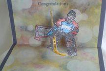 Stamps Ice-Hockey Card Handmade/ gestempelte Eishockey Karten Hand gemacht /  gestempelte und Handgemachte  Glückwunschkarten rund ums  Eishockey
