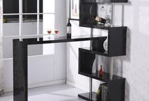 Wooden Black Furniture Bar Table Bookcase Storage Unit High Gloss Shelf Dining