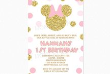 Pink and Gold Minnie Mouse Birthday Party Ideas / Pink and Gold Glitter Minnie Mouse Birthday Party Invitations and Decorations