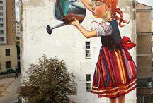 Street art / J'aime le côté inattendu... la surprise de découvrir une magnifique oeuvre d'art au détour d'une rue. J'aime aussi l'intégration des éléments déjà en place dans l'oeuvre (fissures, plantes...) ainsi que les illusions...