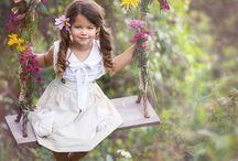 barnefotografering med blomster