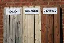 Stain a wooden fence