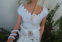 Crochet/Häkel - Kleid/Dress modern für Barbie / Modernes Kleid mit Gürtel und Hut in weis....