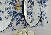 bathroom blue white wallpaper