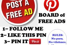 ADS 4 FREE ( PINS ) / PINTEREST ADS BOARD of FREE ADS ::::  1- FOLLOW ME  2- LIKE THIS PIN 3- PIN IT  4- I will add you as a pinner !  Rules: No porn, No vilolence, No spam