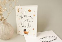 New baby cards calligraphy