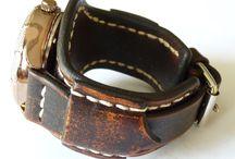 watches / leather watch cuff, wrist watch
