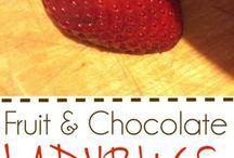 mariehøns af jordbær og evt. blåbær, chokolade