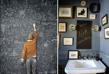 Chalkboard walls - not just for kids / I love each and every one of these installations of a simple chalkboard pain wall (flat black exterior paint) - I am thinking of doing one in my kitchen but would love an entire room!