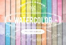 WATERCOLOR PAPERS / DIGITAL PAPERS - WATERCOLOR PAPERS  BY DIGITAL PAPER SHOP