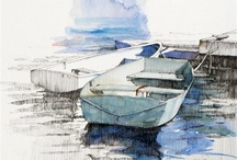 Pen & ink with watercolours