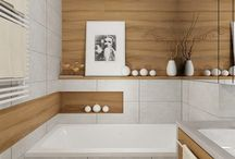 Gray/white/wood bathroom