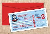 Thomas the Tank Engine Party Supplies / Thomas the Tank Engine birthday party invitations, ticket invitations, DIY, printables, bottle wraps, cupcake toppers, candy bar wraps, straw flags, menu tents, party favor tags, luggage tags, photo announcements, etc. / by Ian & Lola Invitations and Printables