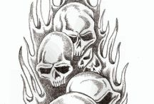 Jimmy Tattoo skull flames