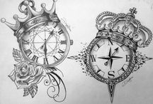clock & compass tattoo
