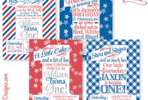 4th of July Birthday Party / 4th of July Birthday Party Ideas, 4th of July Party Idea, 4th of July Decorations, 4th of July Birthday Invitations. Everything you need for a your next Red White & Blue Bash ✨ Invitations & Paper products from www.sprinkleddesigns.com