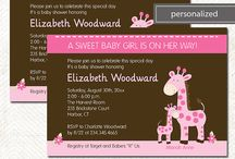 """Pink Giraffe Mommy and Baby Shower / Our cute """"Mommy"""" and """"Baby"""" Pink Giraffe design is available on a wide variety of products, both printed and printable. This would be a darling theme for a girl baby shower! Colors are white, pink, and chocolate brown. It would be easy to coordinate this theme with those cute colors."""