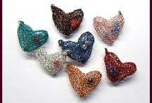Trouky's Crocheted Hearts / Crocheted hearts made of copper wire dyed in various colors
