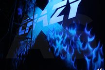 X-Crazy (Blacklight Painting) /  X- Crazy is a first 3d blacklight themed laser tag arena in Chengdu, China.  Designed by Amey Sali. Discover me here www.ameysali.com