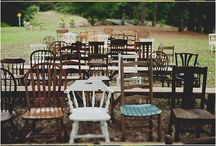 mis-matched wooden chairs