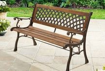 Garden Metal Bench Yard Patio Large Wooden Seater Outdoor Furniture Modern Brown